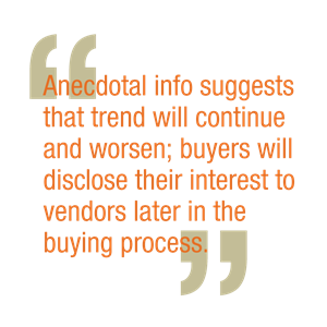 Anecdotal info suggests that trend will continue and worsen; buyers will disclose their interest to vendors later in the buying process.